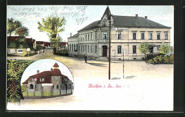 AK Zeithain i. Sa., Partie mit Hotel Reichshof