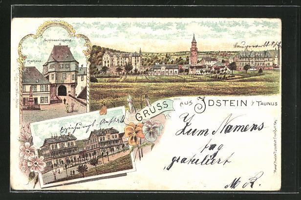 Lithographie Idstein i/Taunus, Schlosseingang, Ortspartie und Panorama