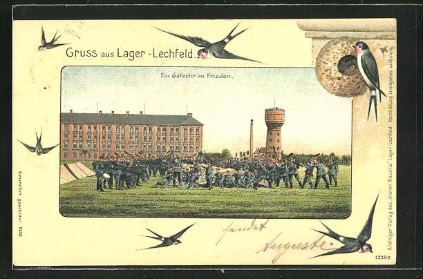 Passepartout-Lithographie Lager-Lechfeld, Ein Gefecht im Frieden, Schwalben