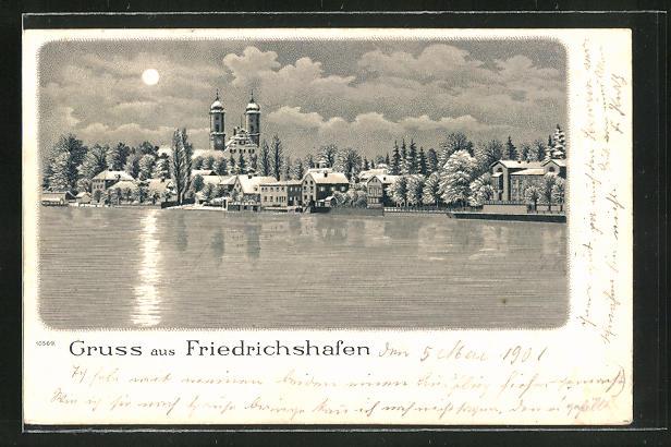 Winter-Lithographie Friedrichshafen, Panorama
