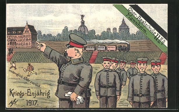 Künstler-AK Mannheim, Ober-Realschule, Kriegs-Einjährig 1917, Soldatenhumor