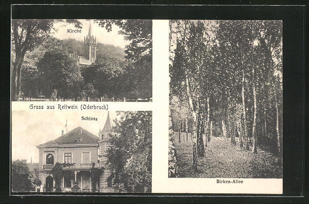 AK Reitwein, Kirche, Schloss und Birken-Allee