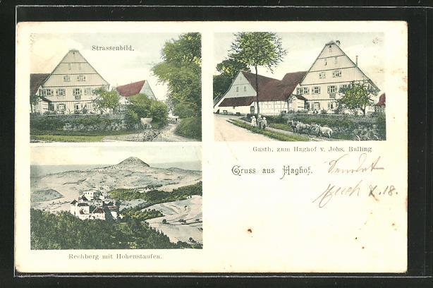 AK Haghof, Gasthaus zum Haghof, Strassenbild