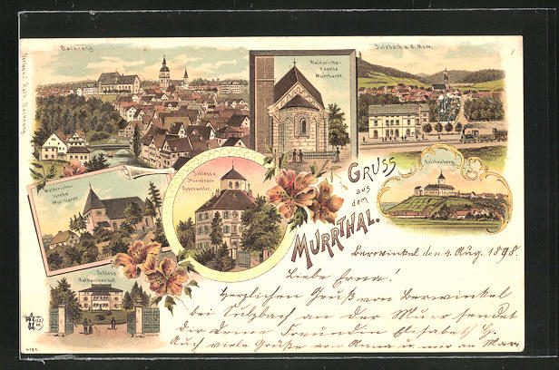 Lithographie Backnang, Teilansicht der Stadt, Schloss v. Sturmfeder Oppenweiler