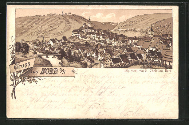 Lithographie Horb a. N., Panoramablick auf die Ortschaft