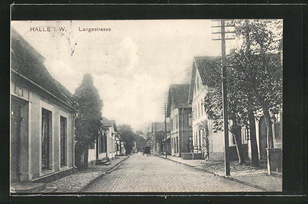 AK Halle i. W., Blick in die Langestrasse