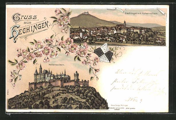 Lithographie Hechingen, Ortsansicht, Burg Hohenzollern