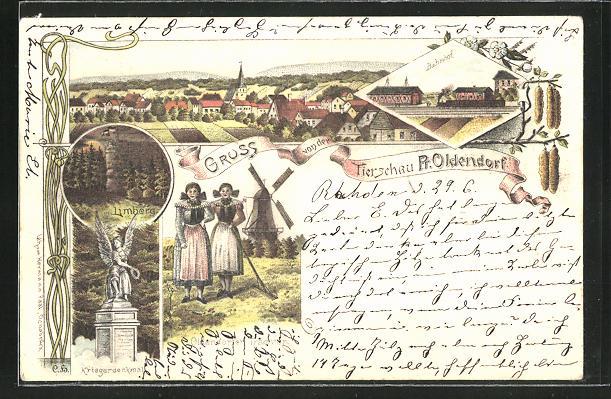 Lithographie Preussisch Oldendorf, Gruss von der Tierschau, Kriegerdenkmal, Bahnhof