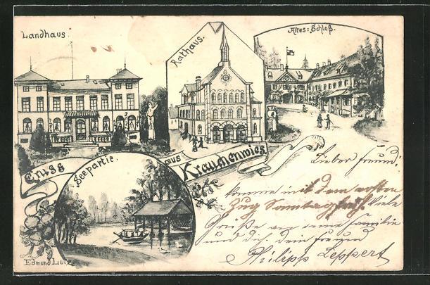 AK Krauchenwies, Gasthof Landhaus, Rathaus, Altes Schloss