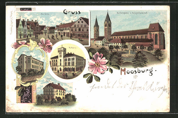 Lithographie Moosburg, Rathaus, Amtsgericht, Kirchenplatz