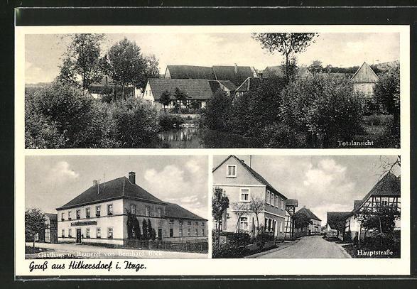 AK Hilkersdorf i. Itzgr., Gasthaus und Brauerei von Bernhard Bock, Hauptstrasse