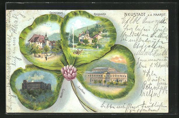 Passepartout-Lithographie Neustadt a. d. Haardt, Kleeblatt mit Saalbau, Maxburg, Königsmühle