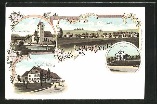 Lithographie Goppertsweiler, Gasthaus zum Löwen, Pfarrhaus, Kirche