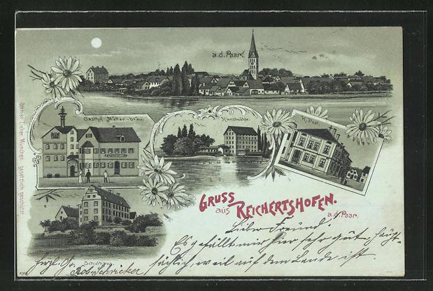 Mondschein-Lithographie Reichertshofen a. d. Paar, Gasthof Müller-Bräu, Kunstmühle