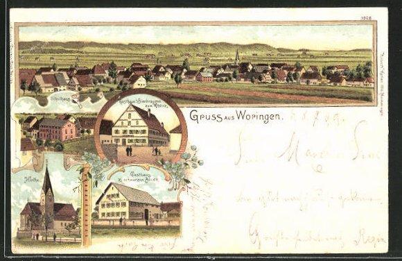 Lithographie Woringen, Gasthaus und Bierbrauerei zum Kreuz, Gasthaus zum schwarzen Adler