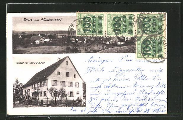 AK Mindersdorf, Gasthof zur Sonne von J. Moll