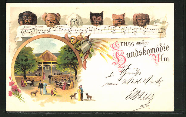 Lithographie Ulm, Gasthaus zur Hundskomödie, Ulmer Fischermarsch