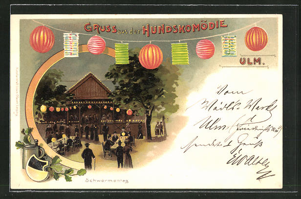 Lithographie Ulm, Gasthaus zur Hundskomödie, Schwörmontag, Lampions