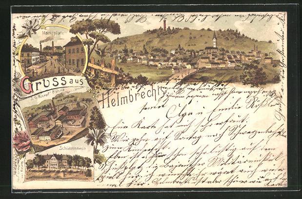 Lithographie Helmbrechts, Marktplatz, J. G. Kopf's Söhne, Schützen