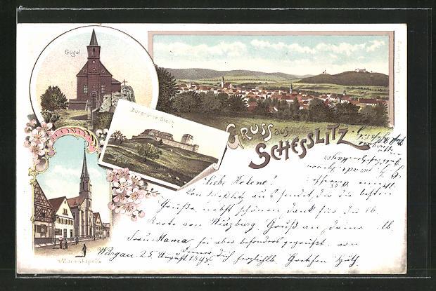 Lithographie Schesslitz, Gugel, Burgruine Giech, Marienkapelle