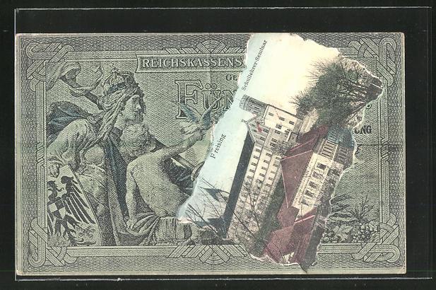 AK Freising, Schullehrer-Seminar, Banknote, Collage