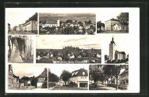 AK Wiesau, verschiedene Ortsansichten, Kirche und Konditorei
