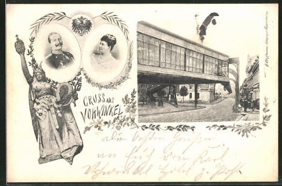 AK Vohwinkel, Partie am Bahnhof der Schwebebahn, Portrait von Kaiser Wilhelm II. und Auguste Viktoria