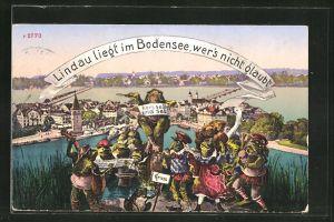 AK Lindau i. B., Ortsansicht mit singenden Fröschen im Vordergrund
