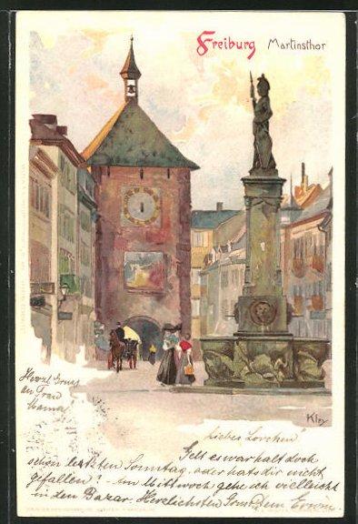 Künstler-AK Heinrich Kley: Freiburg, Martinsthor