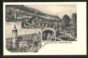 AK Schw. Gmünd, St. Salvator Kirche und Ortsansicht