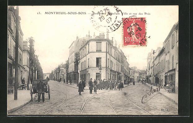 AK Montreuil-sous-Bois, Boulevard Hotel de Ville et rue des Près