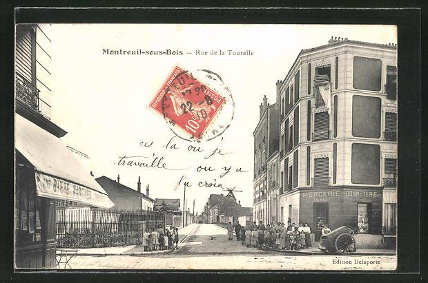 AK Montreuil-sous-Bois, Rue de la Tourelle, Mercerie de Tourelle