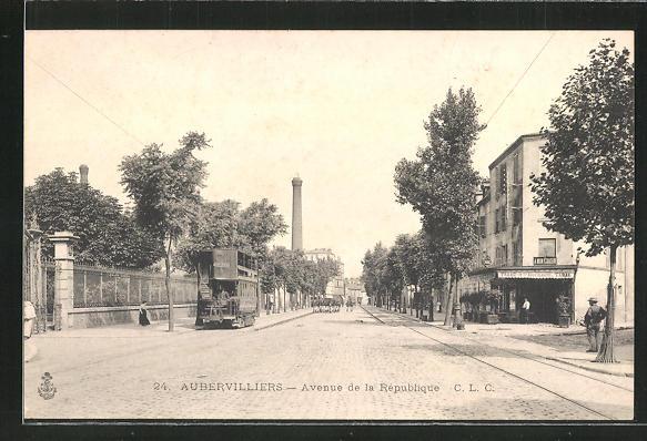 AK Aubervilliers, Avenue de la République, Strassenbahn