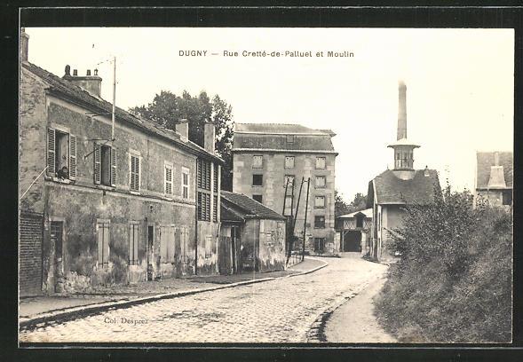 AK Dugny, Rue Cretté-de-Palluel et Moulin
