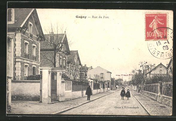 AK Gagny, Rue du Parc, Strassenpartie
