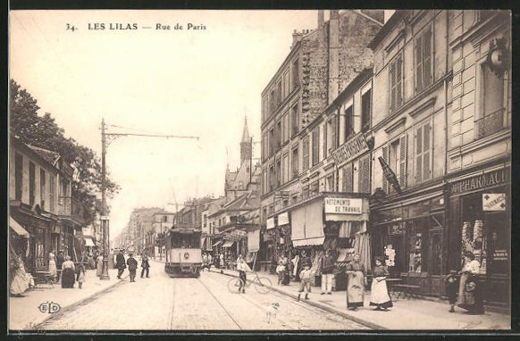 AK Les Lilas, Strassenbahn in der Rue de Paris