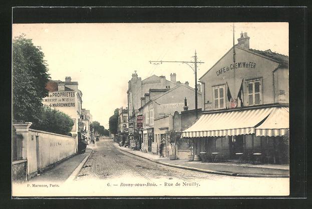 AK Rosny-sous-Bois, Rue de Neuilly, Strassenpartie
