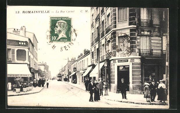 AK Romainville, La Rue Carnot, Strassenpartie