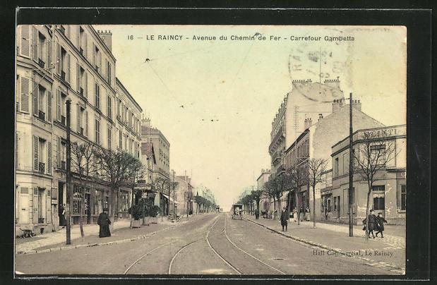 AK Le Raincy, Avenue du Chemin de Fer, Carrefour Gambetta