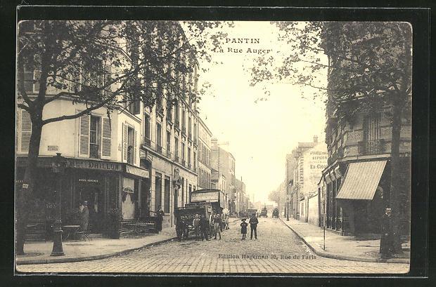 AK Pantin, La Rue Auger, Strassenpartie