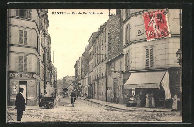 AK Pantin, Rue du Pre St-Gervais, Strassenpartie