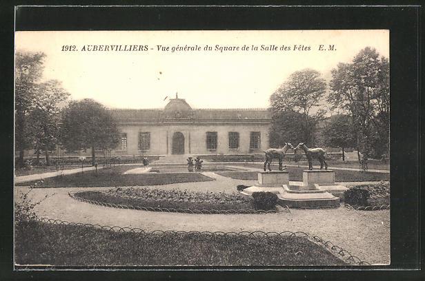 AK Aubervilliers, Vue generale du Square de la Salle des Fetes 0