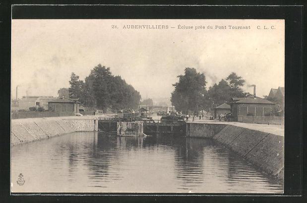 AK Aubervilliers, Ecluse pres du Pont Tournant 0