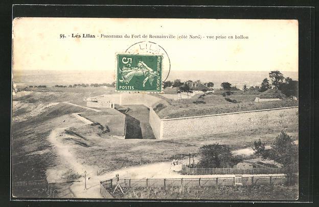 AK Les Lilas, Panorama du Fort de Romainville, vue prise en ballon 0