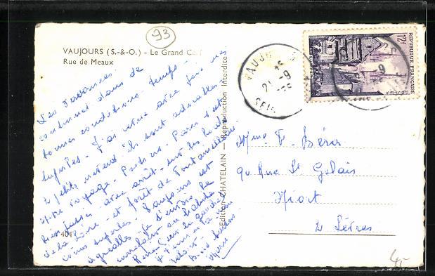 AK Vaujours, Le Grand Cerf, Rue de Meaux 1