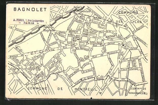 AK Bagnolet, Strassenkarte Montreuil und des Lilas 0