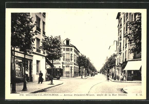 AK Montreuil-sous-Bois, Avenue President-Wilson, angle de la Rue Moliere