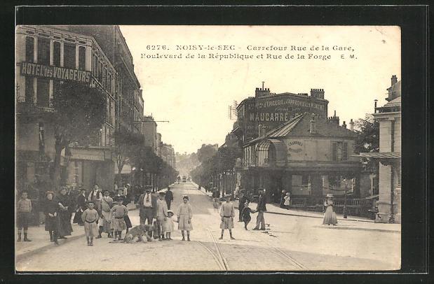 AK Noisy-le-Sec, Carrefour Rue de la Gare, Boulevard de la Republique et Rue de la Forge