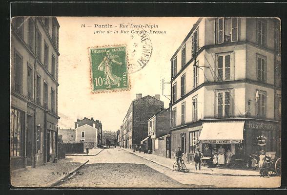 AK Pantin, Rue Denis-Papin prise de la Rue Cartier-Bresson