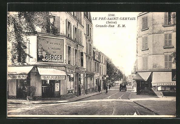 AK Le Pre-Saint-Gervais, Grande Rue et Palais de la Biere